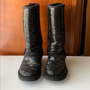 Black Sequin Tall UGG Boots